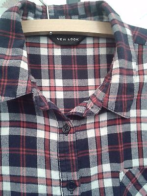 Ladies New Look multi Checked Shirt long sleeve.drop hem.vgc Size 16