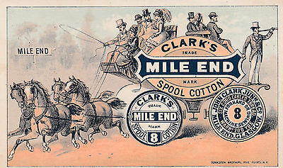 Victorian Trade Card Clarks Mile End Spool Cotton Carriage