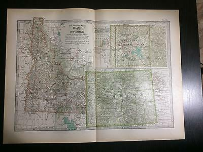 1897 Map of Idaho and Wyoming -The Century Atlas by Ben Smith #50