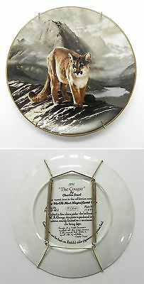 1991 THE COUGAR Ceramic Plate by Charles Frace, WS George, Magnificant Cats