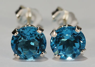 Brilliant Genuine Natural Mined Swiss Blue Topaz Earrings~Sterling Silver~6Mm