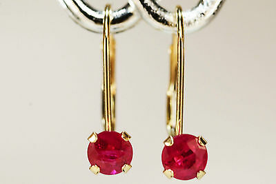 Stunning! Genuine Natural Mined Ruby Earrings~14 Kt Yellow Gold Leverback~4Mm