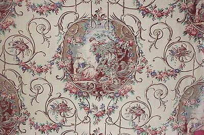 French toile antique Fabric material ROMANTIC 39X101 Rococo design ~ printed old