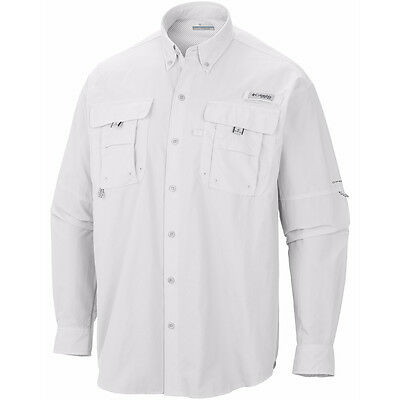 Columbia PFG Bahama II Omni-Shade Relaxed Fit Long Sleeve Collared Shirt - White