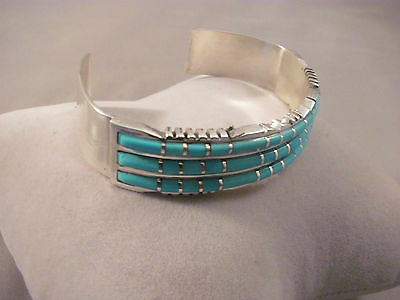 Zuni Turquoise and Sterling Silver bracelet by Sheldon Lalio
