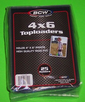 25 4X6 Toploader Holder, Rigid Pvc, For Photos, Cards, And More, Archival Safe