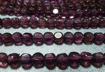 6mm plum glass round cube beads, 9 strands 37 bds/st, New Old Stock LJ297