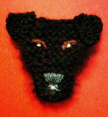 knitted patterdale terrier brooch NEW !