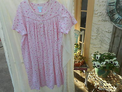 SERENADA short  sleeve  nightgown  pink hearts &  flowers , cotton  blend 1X NEW