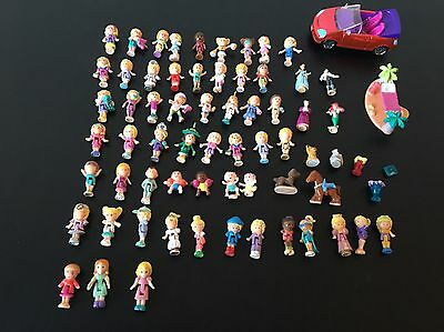 Vintage Polly Pocket Figure Bundle And Extras Over 60 Figures