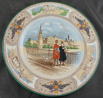 WEDGWOOD PLATE Early 1900's of Russia Double-Headed Eagle Kremlin Moscow