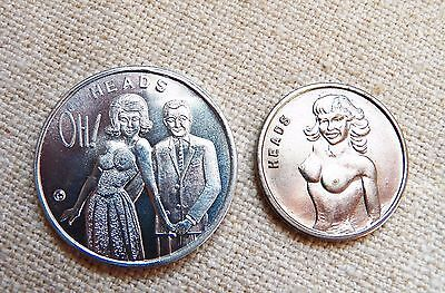 LOT  Two Humorous Tokens ~ Heads Tails ~ naked woman