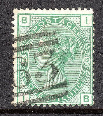 1873 - 80 SG 150 1/- Green from Plate 12 Fine Used. Cat £140.00