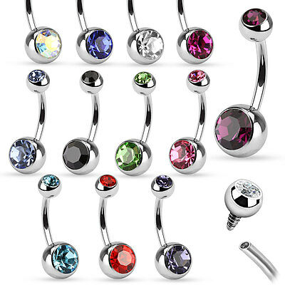 10pcs Wholesale Internally Threaded Double Gem Belly Rings Navel naval 14g