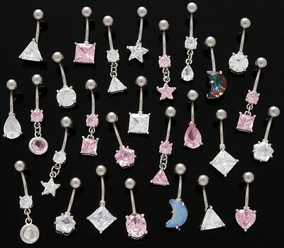 *SPECIAL PRICE* 10pc Clear/Pink CZ Mix Belly Rings Navel Wholesale Lot (B22)