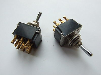 2 x GPO Post Office Toggle Switches Triple Pole TPDT