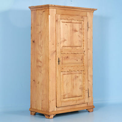 Antique 19th Century Danish Single Door Pine Armoire, Scalloped Edging On Panels