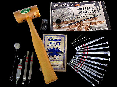 Vintage 1950's Leather Working Lot Stamps Knives Needles Mallot & More