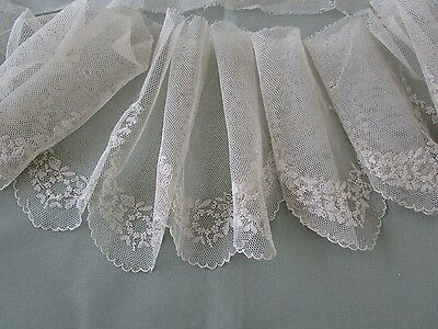 """Antique Embroidered Net Lace Scalloped flounce Trim Edging 84"""" or 214cm"""