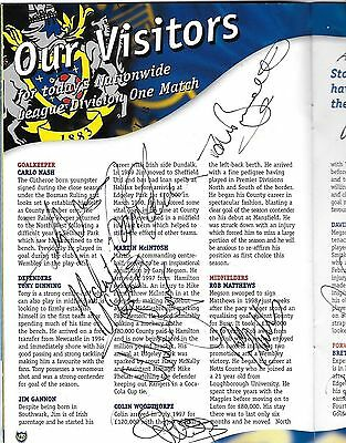 SIGNED 1999 Football Programme PORTSMOUTH v STOCKPORT COUNTY 16 AUTOGRAPHS