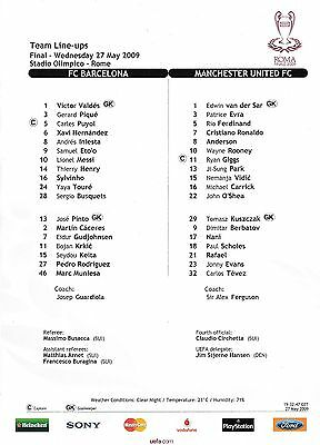 2009 UEFA CHAMPIONS LEAGUE FINAL TEAMSHEET FC BARCELONA v MAN UTD Rome