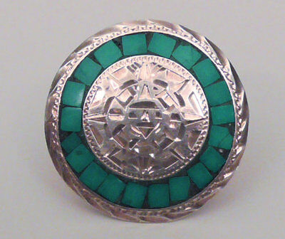 Sterling silver & turquoise handcrafted brooch / pendant Mexico Taxco.