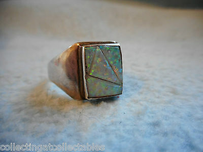 Sterling Silver Native American Ring Fire Opal  Nathaniel Johnson 7.8 grams