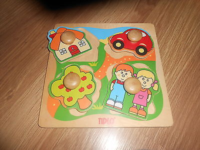 Tidlo Baby 4-Piece Wooden Shapes Toy (Ex Condition)