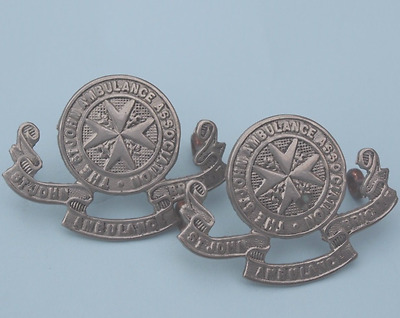 THE  ST.  JOHN  AMBULANCE  ASSOCIATION        WHITE  METAL  COLLAR  BADGES  used