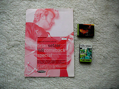 Brian Setzer Large Euro Show Handbill And Set Of Two Promo Matchboxes Oop
