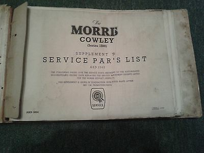 Morris Cowley Series 1 & 1500 (Like Oxford) G/d Cond Body/mechanical Parts Book