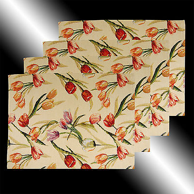Set Of 4 Vintage French Country Lily Floral Tapestry Deco Table Linen Placemats