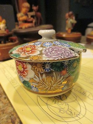 Antique Japanese KUTANI HAND PAINTED Porcelain bowl Lid slotted floral DEB