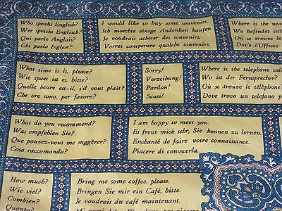 Vintage 1950's MOST USEFUL PHRASES Tourist/Travel  silk scarf 47 x 47 cm