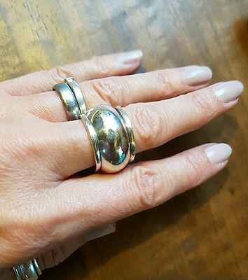 Stunning Chunky Wide Sterling Silver Spinner Ring- Amazing! Size Q-R
