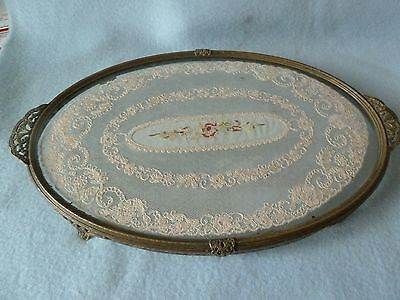 Vintage Oval Petit Point Dressing Table Tray