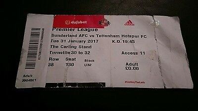 SUNDERLAND v TOTTENHAM  31/01/17 USED MATCH TICKET - SPURS  HOTSPUR BLACK CATS