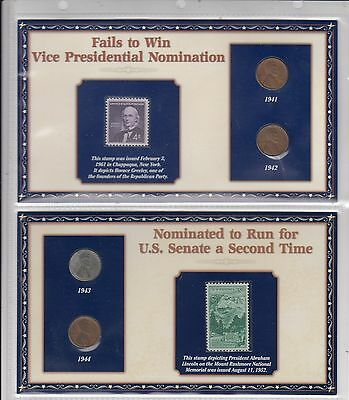 USA, Lincoln Coin & Stamp Panel Set 1941-42-43-44 Wheat Cent Pennies & 2 Stamps