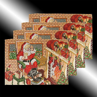 Set Of 4 Vintage Red Merry Christmas Santa Claus Tapestry Table Linen Placemats