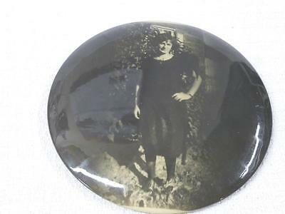 Vintage Round PHOTO Chimney FLUE COVER Lady with Hand on Hip Black & WHite