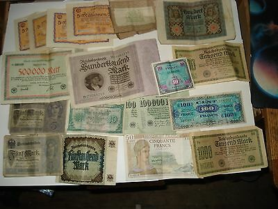 Lot of Old German & French Paper Money, X 20