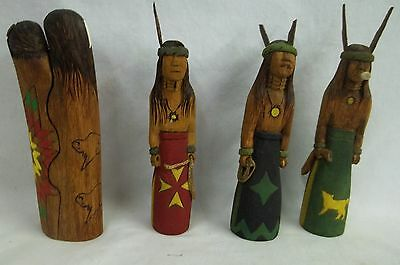 Lot 4 Hand Carved And Painted Indians By Paul Sand Signed