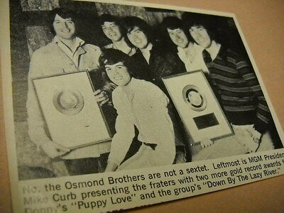 The OSMONDS posing with MIKE CURB original vintage promo image with text