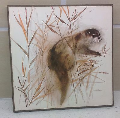 Mads Stage Signed Print Of Otter - On Board - Vintage 1970'S