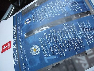 Leicester City Chelsea  Official Youth Cup Coloured 2017 Teamsheet Programme