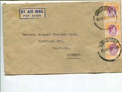 Malaya Singapore air mail cover to Germany 1955