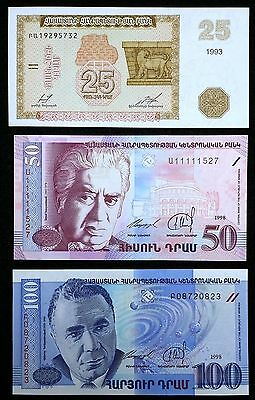 ARMENIA: Collection of 3 Banknotes, 25 & 50 & 100 Dram 1993 1998, P-34 41 42 UNC