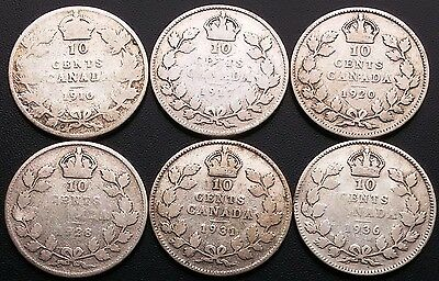 Lot of 6 Canada Silver 10 Cents Dimes - Good Dates: 1910 to 1936