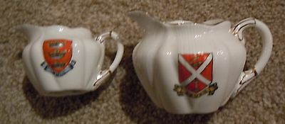 The Foley [Shelley] China Crested Ware 272101 - 2 Small Jugs - Leven/hull