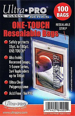 300 Ultra Pro ONE TOUCH RESEALABLE BAGS NEW magnetic screw toploader card sleeve